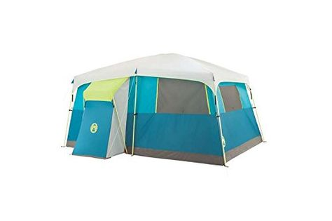 coleman 8-person instant set up camping tent brown