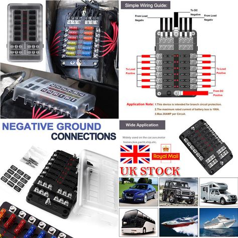 Black 12 Way Blade Fuse Box /& Bus Bar Car Kit With Cover Marine FuseBox Holder