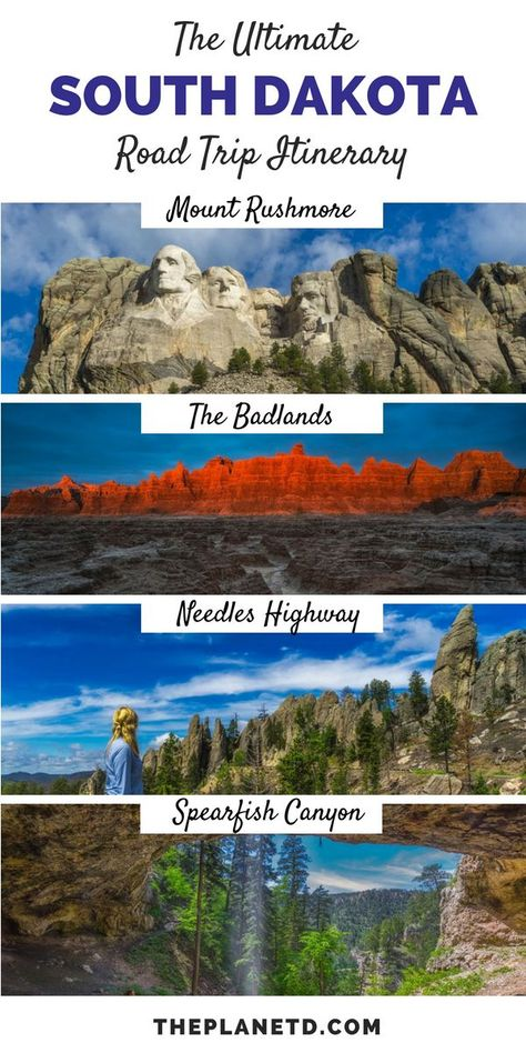 The ultimate road trip itinerary through South Dakota. A highlights guide to 8 amazing things to do in South Dakota ranging from the Black Hills to Deadwood to Badlands to Mount Rushmore. This offbeat vacation offers the adventure of a lifetime the second Family Road Trips, Road Trip Usa, Family Travel, Usa Roadtrip, Family Vacations, Summer Road Trips, Midwest Vacations, Dakota Do Sul, Dakota Do Norte