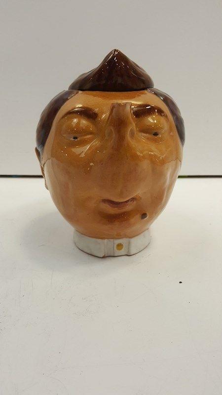 Vintage Ceramic Face and Hat Teapot 1980s Tired British Bowler Cap