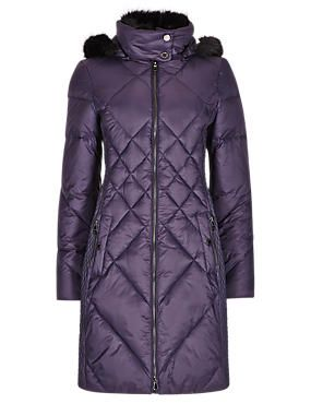 Thinsulate™ Faux Fur Diamond Quilted Hooded Overcoat with Stormwear™
