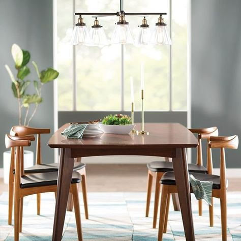 We're in the mood for some soup, a salad, and a smooth wood dining set. Keep it classic and clean with a modern, mismatched set for the perfect family dining space. #Wayfair