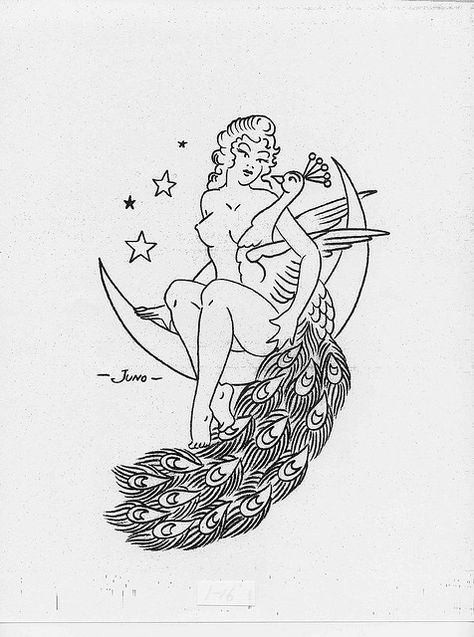 Retro pin-up embroidery pattern