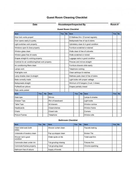 Daily Checklist Template Word - Guest Room Cleaning Checklist