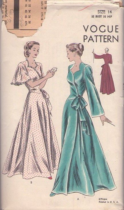 "1940 S Vintage Sewing Motif B36/"" Robe 9"