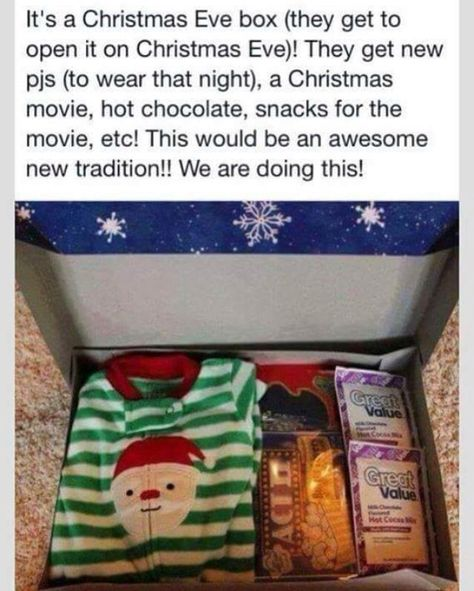 make a christmas eve box of pjs hot chocolate snacks and a movie for the kids to open on christmas eve grandma gifts from kids pinterest christmas
