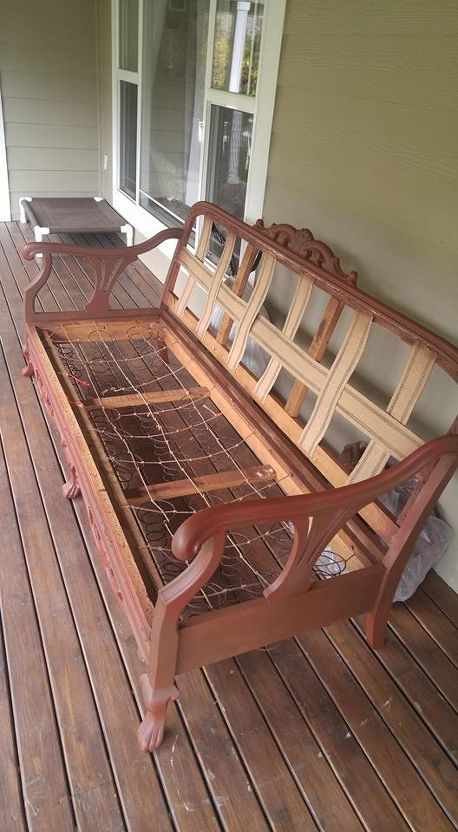 How To Bring An Old Couch Back To Life Wooden Couch Furniture Vintage Couch