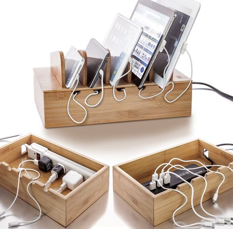 Prosumer's Choice Natural Bamboo Charging Station Rack for Smartphones and Tablets Computers & Accessorie Mobile Charging Station, Electronic Charging Station, Charging Station Organizer, Charging Stations, Charger Organization, Computer Desk Organization, Shop Organization, Cable Storage, Cable Organizer