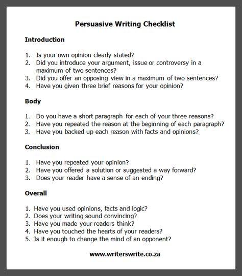 Persuasive Writing Checklist   Writers Write