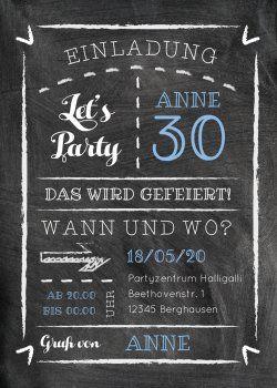 Trendy Einladung Zum 30 Geburtstag In Kreidetafel Look