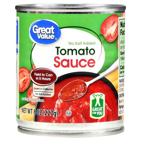 Great Value No Salt Added Tomato Sauce 8 Oz Walmart Com Delicious Tomato Sauce Tomato Sauce Sweet Sour Chicken