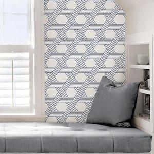 Scott Living 30 75 Sq Ft Indigo Vinyl Geometric Self Adhesive Peel And Stick Wallpaper Lowes Com In 2020 Peel And Stick Wallpaper Indigo Wallpaper Modern Pattern Geometric