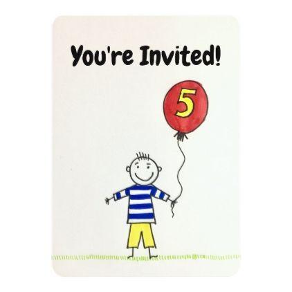 birthday invitation 5 years old boy