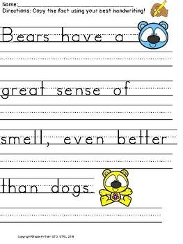 Handwriting Practice Animal Facts Copy Correct The Letter