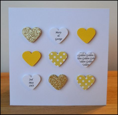 Handmade personalised Golden Wedding Anniversary card - 50th 50 on Etsy, £2.95