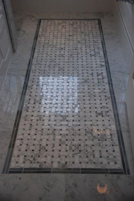 via Jen at rambling Renovators Basketweave floor tile from Saltillo Tiles Toronto - marble and moonstone