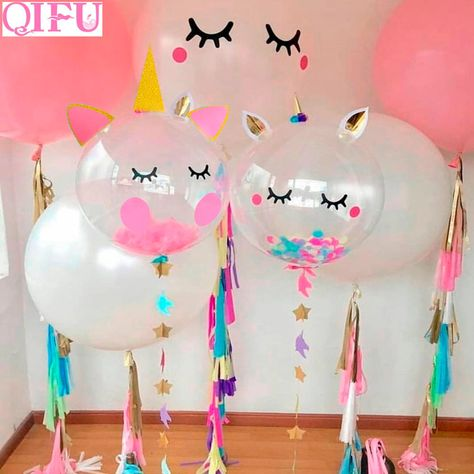 QIFU Pink Unicorn Party Unicorn Balloons Air Balloon Birthday Party Decorations Kids Baloons Birthday Balloon Latex Balon Helium