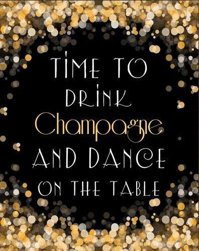 Time To Drink Champagne New Year Instant By PrintableHome