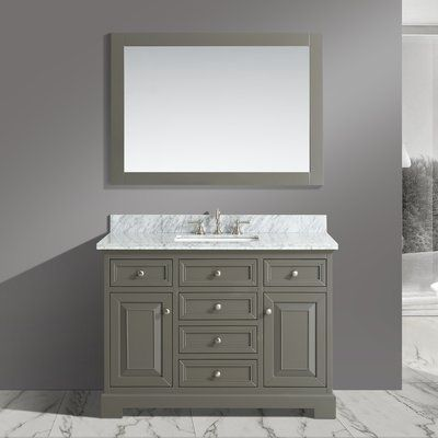 Charlton Home Cathey 48 Single Bathroom Vanity Set With Mirror Base Finish Distressed Grey In 2020 Double Vanity Bathroom Vanity Set With Mirror Bathroom Vanity