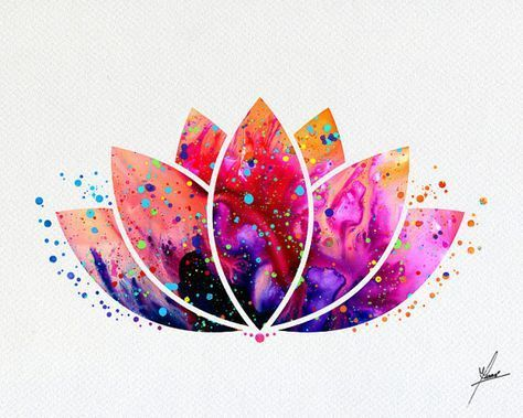Lotus Flower Yoga Symbol Watercolor Illustrations Art Print Poster