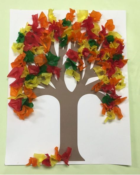 Use your pencil to make the leaves for this Fall Tissue Paper Tree. It gives the tissue paper depth and is less messy and quicker than rolling in a ball paper crafts Fall Tissue Paper Tree Fall Crafts For Kids, Thanksgiving Crafts, Art For Kids, Autumn Art Ideas For Kids, Kids Diy, Summer Crafts, Tissue Paper Trees, Tissue Paper Crafts, Diy Paper