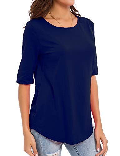 0f271da20acb nordicwinds Womens Cotton Tops Casual Fitted Soft T Shirt Comfy Half Sleeve  Tee Solid, Navy Blue, Large