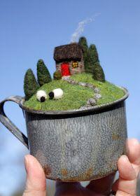 lil fish studios: my happy world landscape in cup mug Needle Felted Animals, Felt Animals, Fibre, Fiber Art, Felt House, Needle Felting Tutorials, Wet Felting Projects, Felt Pictures, Felt Fairy