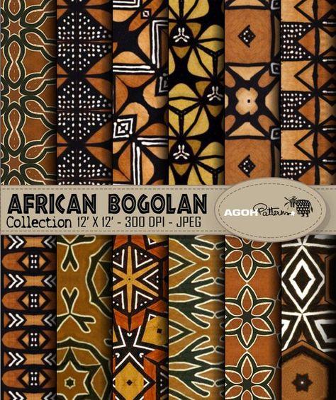 AFRICAN indigo Patterns pack of 12 - Africa - digital paper scrapbook - print - Trends Pin
