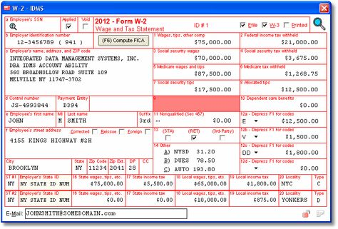 W-2 User Interface W-2 Wage and Tax Statement - Data is entered - certified payroll form