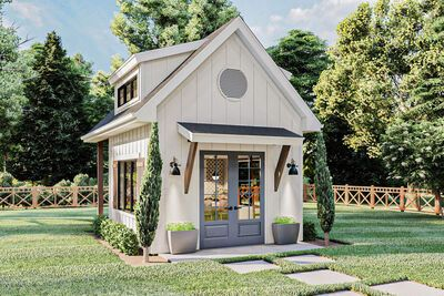 Modern Farmhouse Exterior, Farmhouse Sheds, Farmhouse Office, Modern Farmhouse Design, Farmhouse Landscaping, Farmhouse Homes, Backyard Office, Outdoor Office, Sims