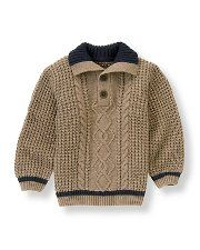Willow Bark Heather Heathered Cable Sweater by Janie and Jack. Wool, Machine Washable, Imported, Sizes 7 - 12 Online Only and Classic Train