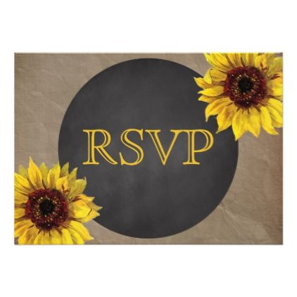 100 Rustic wood sunflower invitations and rsvp cards