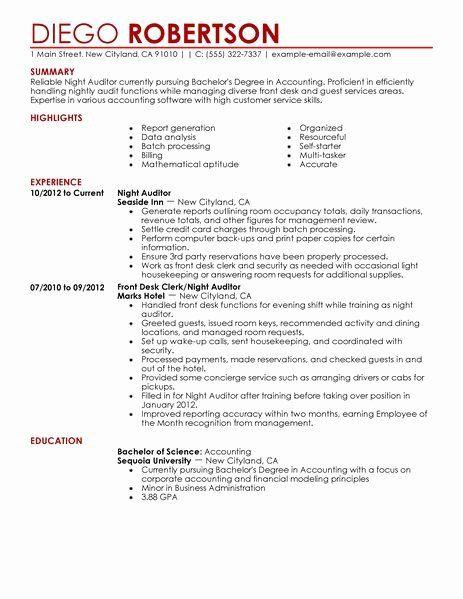 Gym Front Desk Resume Elegant Night Auditor Resume Example Resume Examples Good Resume Examples Sample Resume