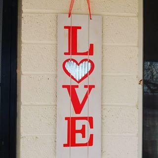 I Love How My Valentine S Day Sign From The Dt Matches Perfectly With The Sign From Hobbylobby Dollartr Dollar Tree Finds Valentines Valentines Day