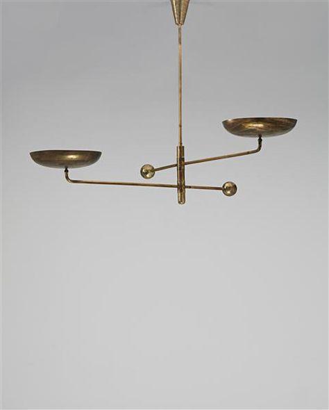 Phillips | Arredoluce - Rare two-armed counterbalance ceiling light, 1940s | Design London Thursday, September 27, 2012 Lot 70