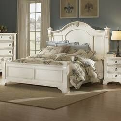 Defelice French Wood Standard Bed Distressed White Bedroom Furniture Bedroom Furniture Sets White Bedroom Furniture