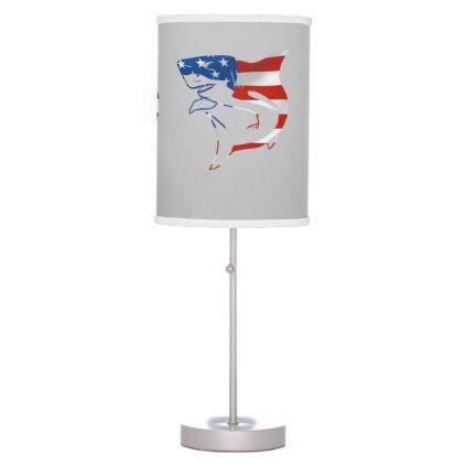 Red White Blue Flag Shark On Gray Background Table Lamp Zazzle Com Gray Background Red White Blue Red