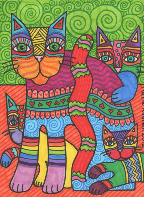 """November is the unofficial """"Month of the Cat"""" in my classroom! I'm having students look at the work of Laurel Burch as inspiration."""