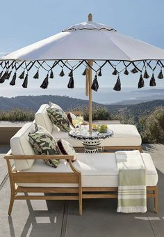 Beach Pretty House Style The Coolest Sun Umbrellas In Your Beach Town Outdoor Rooms Outdoor Living Patio Umbrellas
