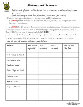 Separation Of Mixtures Worksheet Answer Key   worksheet