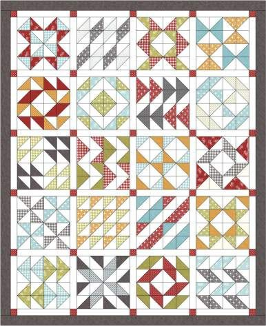 Layer Cake Sampler quilt...all HST's! How easy, I am sooo doing this! Link leads to all of the block patterns?