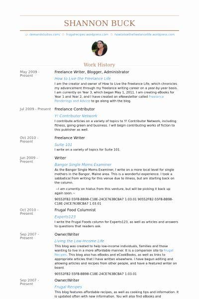 Freelance Writer Resume Sample Luxury Freelance Writer Blogger Administrator Resume Example Work Ideas Freelance Writer Resume Resume Examples Blog Help