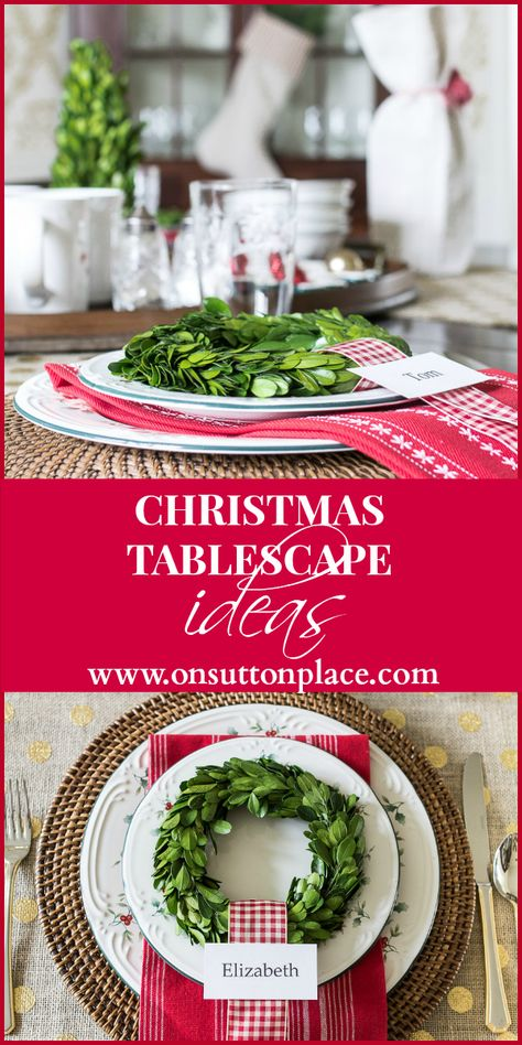 Christmas tablescape ideas that include using natural elements and a DIY custom place card!