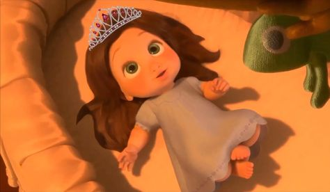 Here S Baby Rapunzel With Brown Hair And She S Decked Out With A