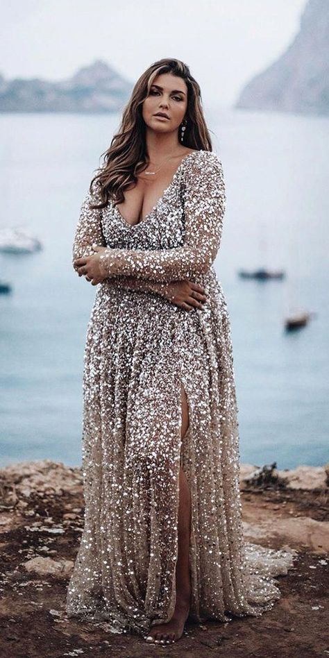 33 Plus-Size Wedding Dresses: A Jaw-Dropping Guide ❤ plus size wedding dresses. - 33 Plus-Size Wedding Dresses: A Jaw-Dropping Guide ❤ plus size wedding dresses a line with long sleeves v neckline sequins one day Source by weddingforward