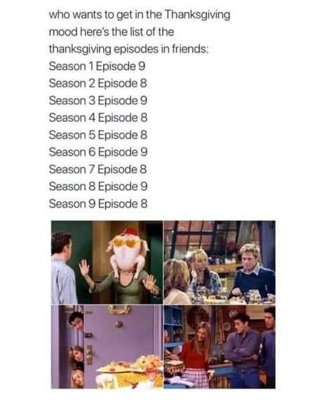FRIENDS Thanksgiving Episodes | Friends thanksgiving episodes ...