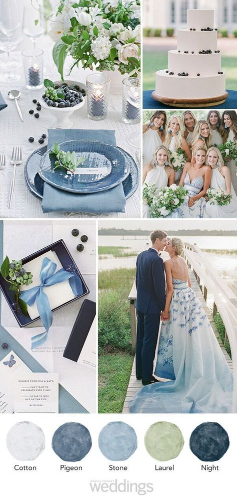 """The décor and food helped create a laid-back vibe for the day. """"We wanted a mix—where you could come in a full-on gown or wear a sundress and still feel great."""" #Wedding #WeddingColor #WeddingInspiration #ColorPalette #WeddingIdeas #Natural #WeddingColors #Blues #LightBlue #Navy #White #Sage #Green #Blue 