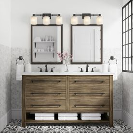 Allen Roth Kennilton 60 In Gray Oak Double Sink Bathroom Vanity With Carrera White Eng Double Sink Bathroom White Vanity Bathroom Double Sink Bathroom Vanity