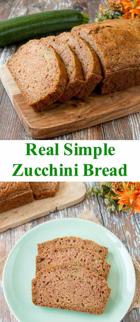 Real Simple Zucchini Bread This easy zucchini bread recipe is moist, flavorful and perfect, just like the way mom used to make it. Easy Zuchinni Bread, Zucchini Bread Recipes, Vegan Zucchini, Zucchini Cake, Real Simple, Healthy Dessert Recipes, Breakfast Recipes, Dessert Bread, Sweet Recipes