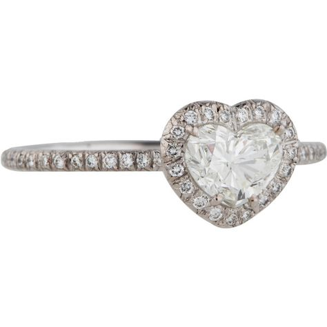 8c2b36663 Pre-owned Fred Leighton Platinum Diamond Heart Ring ($3,895) ❤ liked on Polyvore  featuring jewelry, rings, engagement rings, platinum band ring, heart band  ...